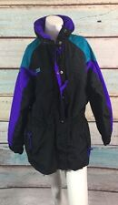 Columbia Sportswear Company Black Purple Green Colorblock Hooded Jacket Sz M