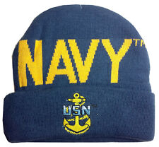 Navy Embroidered Cuff Knit Beanie Stocking Hat or Cap Officially Licensed