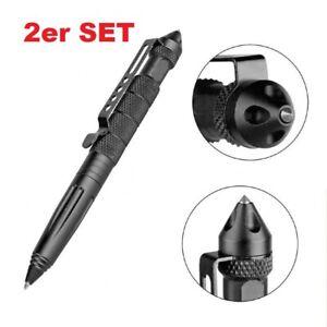 2er SET TACTICAL PEN Kugelschreiber mit GLASBRECHER - Selbstverteidigung Kubotan