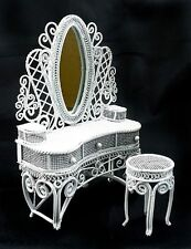 White Metal Wire Makeup Vanity Chair 1:12 Doll's House Dollhouse Furniture Set