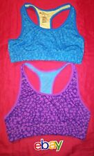 2 PC LOT IDEOLOGY PURPLE BLUE LEOPARD COMPRESSION SPORTS BRAS WOMEN SZ S NICE