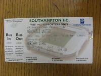 11/05/2002 Ticket: Southampton v Newcastle United  (folded). Footy Progs/Bobfran