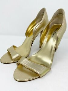Bebe US 8 Gold Leather High Heels Open Toe Stiletto Sandals