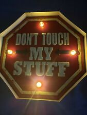 Don't Touch My Stuff Vintage LED Light Metal Signs Creative Bar Shop Wall Decor
