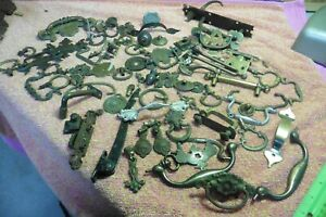 Vtg escutcheons hinges handles pulls dresser plate brass metal copper