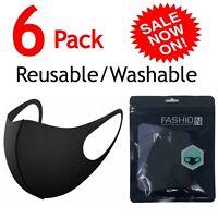 6 PCS Face Mask Reusable Washable Fashion Adult Spandex Black Mouth Cover Mask
