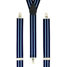 Navy Baby Blue Stripes Clip On Trouser Braces Elastic Suspenders Handmade UK