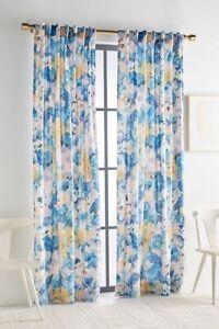NEW ONE 50x63 Panel Anthropologie Helen Dealtry Floral Velvet Lilac Curtain Blue