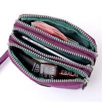 Women 3 Zipper Wallet Canvas Handbag Card Holder Phone Bag Zipper Coin Purse