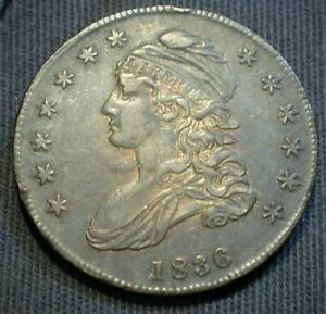 1836 USA Capped Bust Silver Half Dollar in XF+/AU Condition O-110  (563)