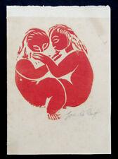 1960's Vintage JOSE DE CREEFT Modern Abstract Art WOODBLOCK PRINT Christmas Card