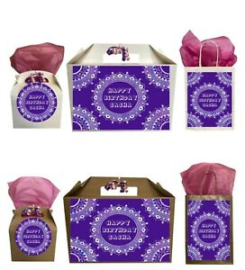 Personalised Happy Birthday Purple Mandala Gift Box Present Box Bag Collection