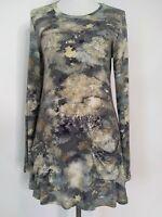 Logo Lori Goldstein Womens Snakeskin Camo Long Sleeve Pockets Tunic Top Size XS