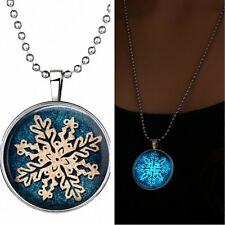 Fashion Women Christmas Snowflake Glow in the Dark Pendant Gem Time Necklace New