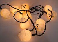Vintage Halloween Plastic Skull Lights on String Working Circa 1980s
