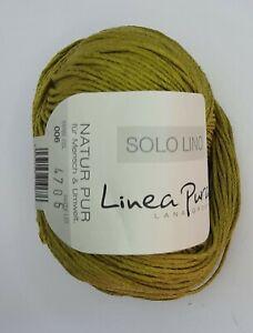 (11 €/100g): 50 g LG Solo Lino, Linea Pura, Leinengarn, Fb. 006 grün # 5262