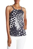TRINA TURK 'Alix' Floral Tank Top in Navy Blue & White sz Small S NEW $168.00