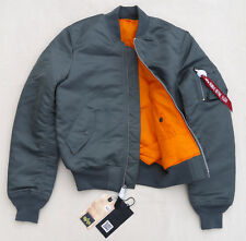 ALPHA INDUSTRIES MA1 Slim Flight Jacket Bomber Pilot Reversible Gun Metal Men XS