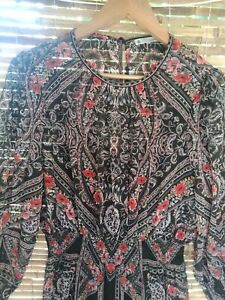 Target woman Paisley Maxi Dress Size 12 Long Sheer Slv Boho Hippie Floral Beach