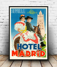 Hotel Madrid , Vintage Spanish Travel advertising poster reproduction.