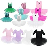 Girls Kids Ballet Leotard Tutu Dress Gymnastics Dancewear Ballerina Costume
