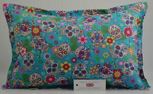 "Handmade Sugar Skulls Turquoise Oxford Style Cushion Inc Pad 14""x20"" (36cmx51cm)"