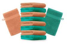 """10er Pack Waschhandschuhe """"Premium"""" Farbe: Smaragd-Grün & Orange, Größe: 17x21 c"""