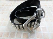 "MENS VTG STUDDED PU LEATHER BELT BLACK SIZE 75CM 29"" GOOD/WORN SKU NO AR481"