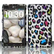 For AT&T LG Optimus G E970 Rubberized HARD Case Snap Phone Cover Rainbow Leopard