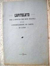 1930 STATUTO DEI FONDI RUSTICI DELLA CONGREGAZIONE DI CARITA' DI LUGO DI ROMAGNA