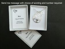 Birthday Necklace Gift Tree of Life 16th 18th 21st 30th 40th 50th 60th 65th