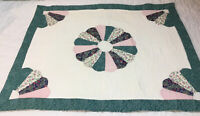 Patchwork Quilt Wall Hanging, Dresden Plate, Floral Calicos, Green, Blue, Pink
