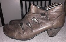 Remonte Annemarie 73 Brown Leather Ankle Booties  Women's Sz 38 7- 7.5 $150