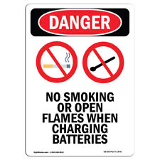 OSHA Danger Sign -  No Smoking Or Open | Heavy Duty Sign or Label