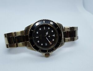 RARE Vintage '06 Timex gold /black Dial Submariner INDIGLO *new Battery/ Works