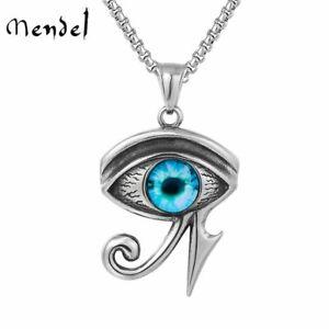 MENDEL Egyptian Pyramid Evil Eye of Horus Ra Pendant Necklace Stainless Steel