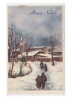 1952 Illustrator Card Tableware Vintage Tuning Christmas Country Snowy