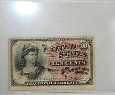 1863 Us Ten Cent Bill 10c Paper Money Fractional Currency Xf Extra Fine Circ