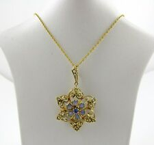 "VINTAGE 14K GOLD TANZANITE & SEED PEARLS LADIES PENDANT-PIN JEWELRY ""ccz'"""