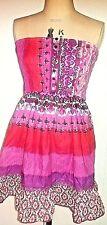 womens dress size 16 New by Kushi burgundy pink biege multi  pockets & lace trim