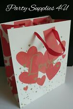 Valentine Love Gift Bag. Be Mine Tag/Present/Wine/Wedding/Red/Hearts/Ribbon