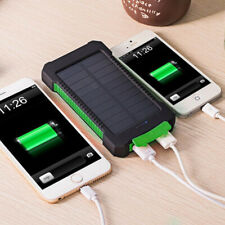 DCAE 10000mah Waterproof Solar Power Bank Dual USB LED Battery Charger for Phone Green