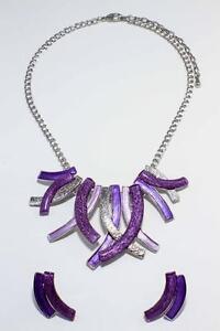 Fashion Women Choker Collar Classic Purple Strips Necklace Pendant Earrings Set