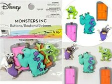 DISNEY DRESS IT UP BUTTONS  SULLY BOO MIKE - MONSTERS INC 5 BUTTONS POSTAGE DEAL
