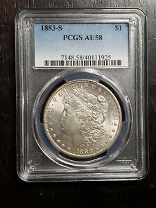 Beautiful 1883 S Morgan Silver Dollar Graded PCGS AU 58