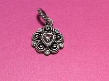 Brighton Silver Light Pink Flower Heart Birthstone Charm Retired NWOT (0950)