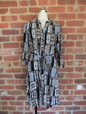 SUZANNE GRAE LADIES STRETCH 12 FAUX SHIRT DRESS PULL ON BLUE TAUPE POLY ELASTANE
