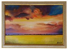 """Rapeseed Field "" Original Oil Painting Framed & Signed Landscape Sky Clouds"