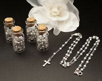 12 PC White Glass Bottle Rosary Baptism Favors Boy Recuerdos Bautizo Rosario