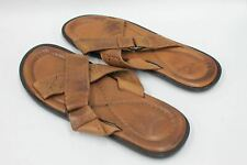 FRYE Men's Brown Leather Cross Strap Sandals Flip Flops Size UK11.5 EU46 US12